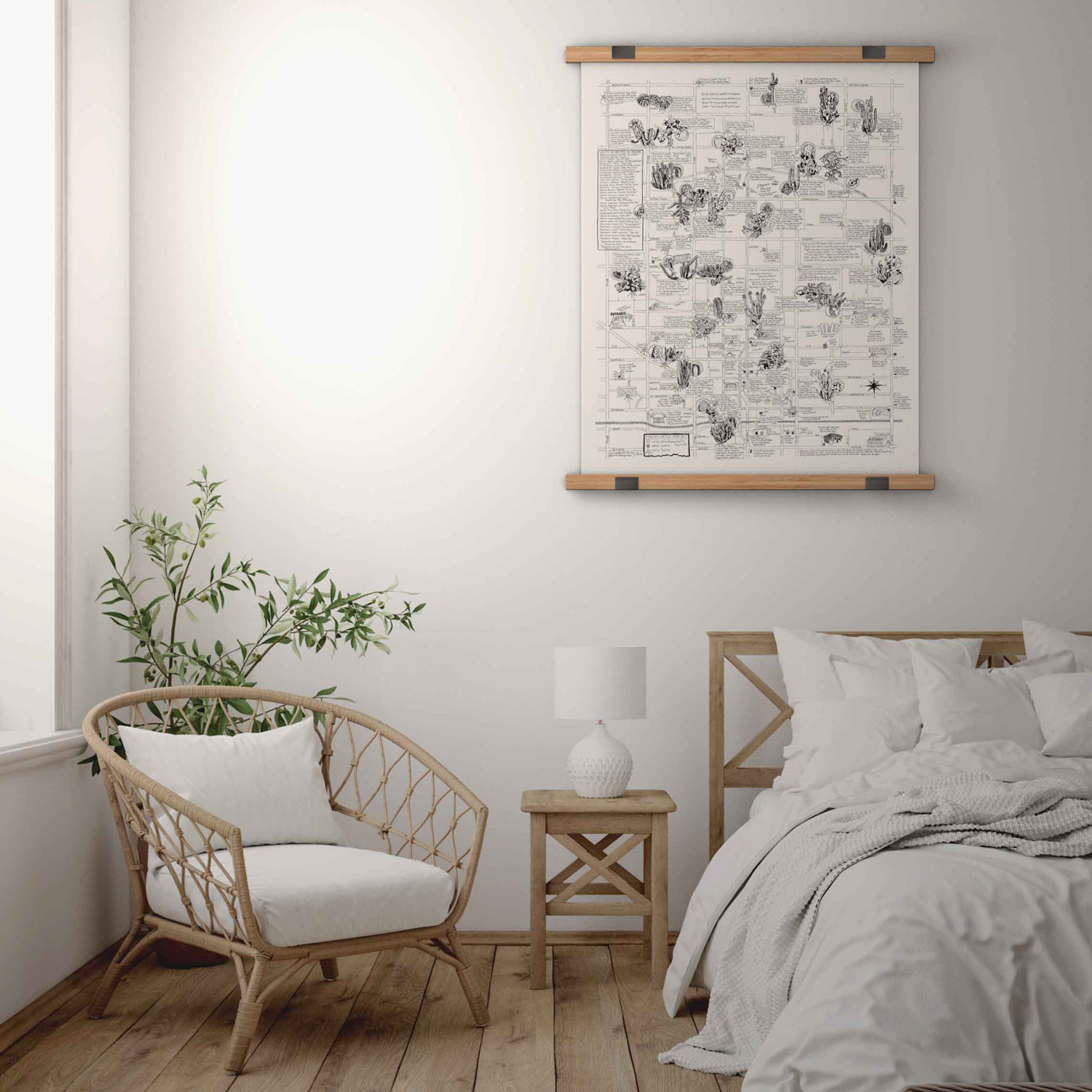 bedroom with cactus map on wall