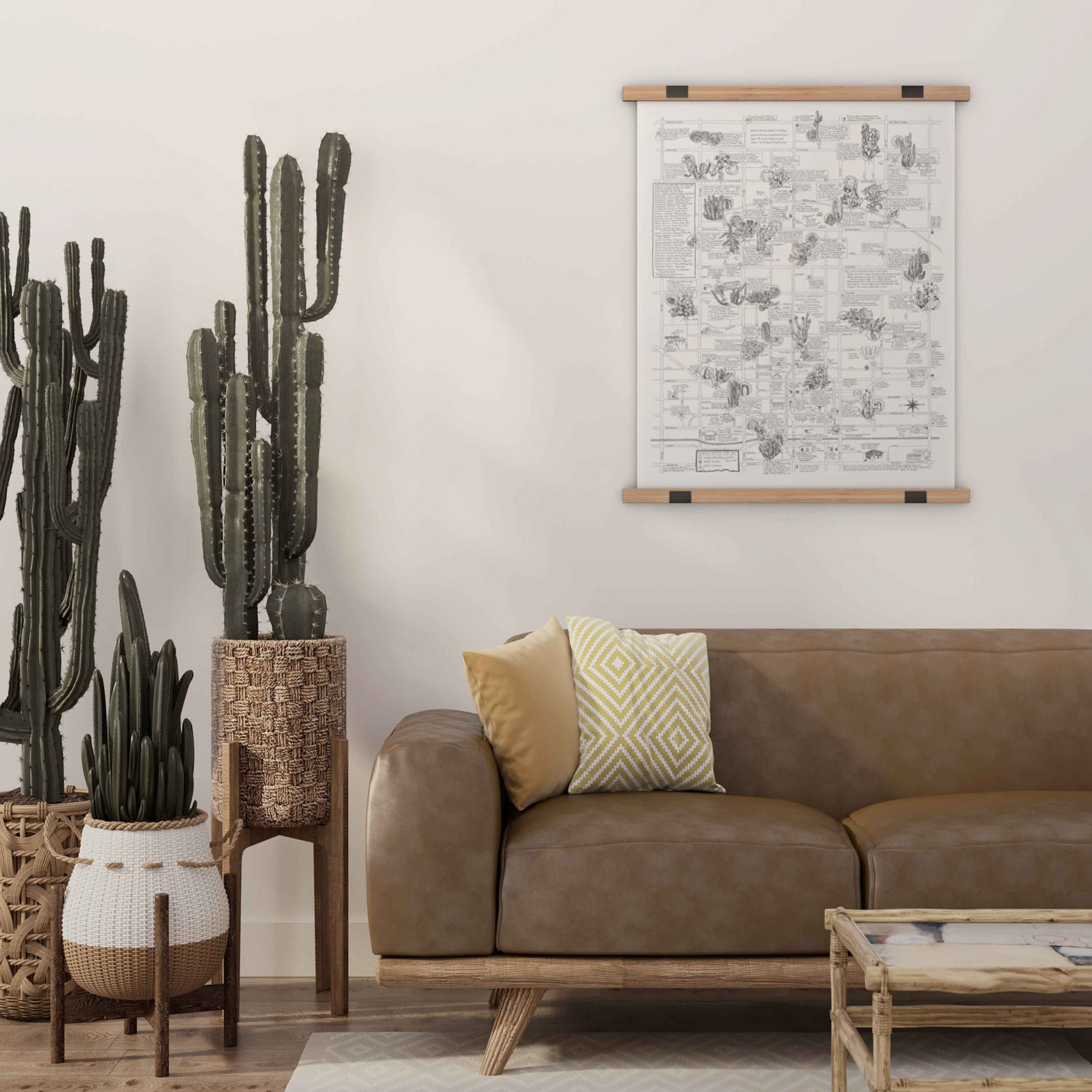 living room with cactus and cactus map on wall