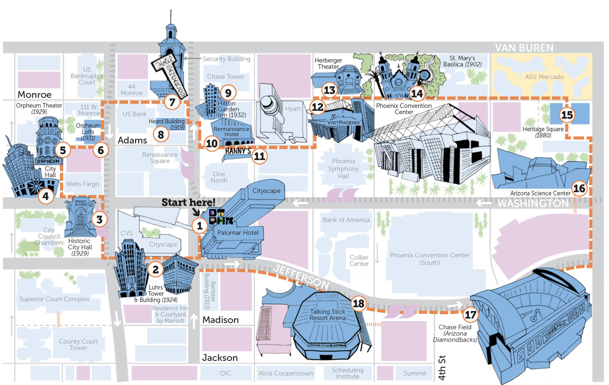 Downtown Phoenix Walking Tour Map
