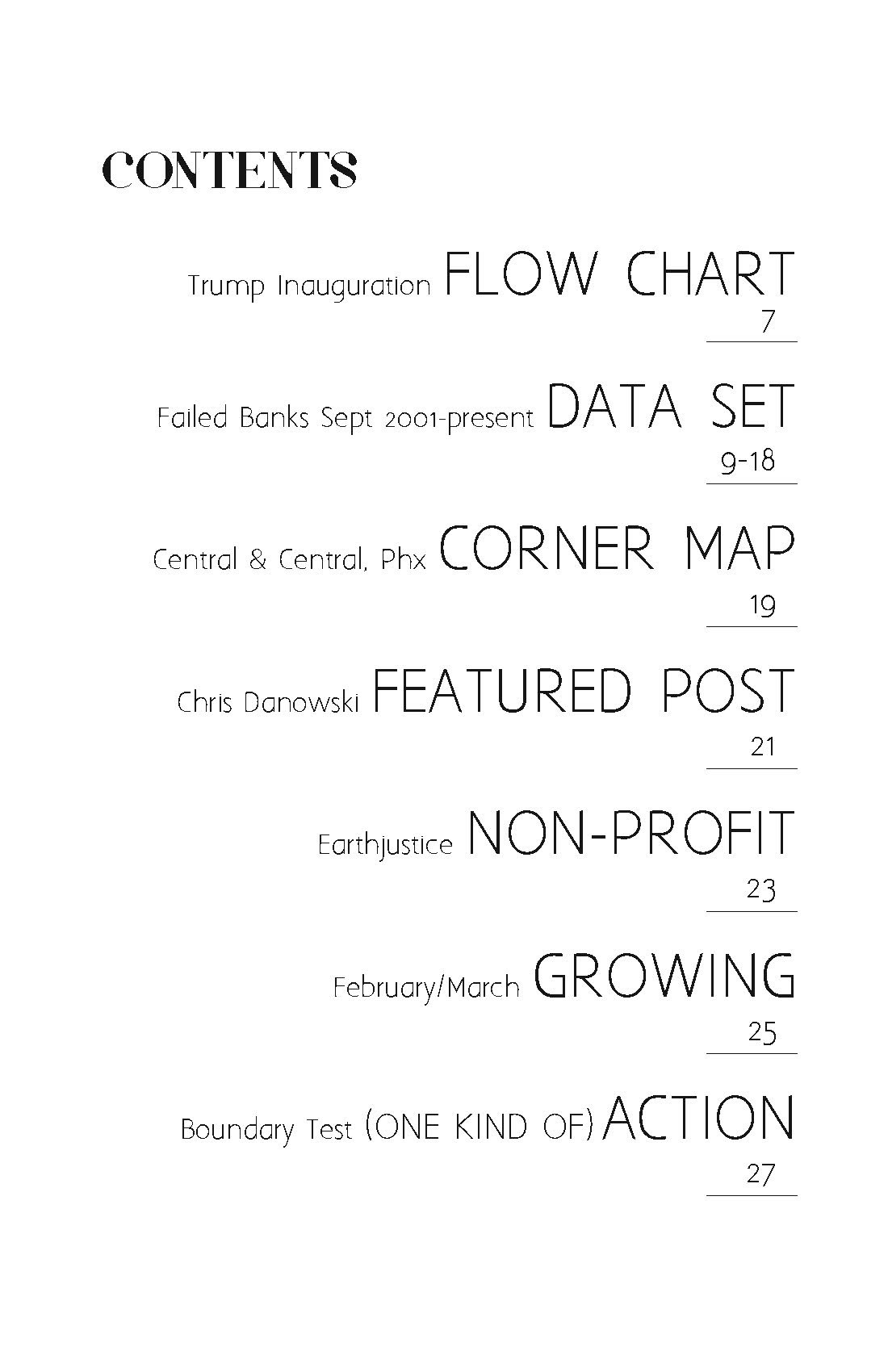 Patterns of Action zine issue 1 table of contents