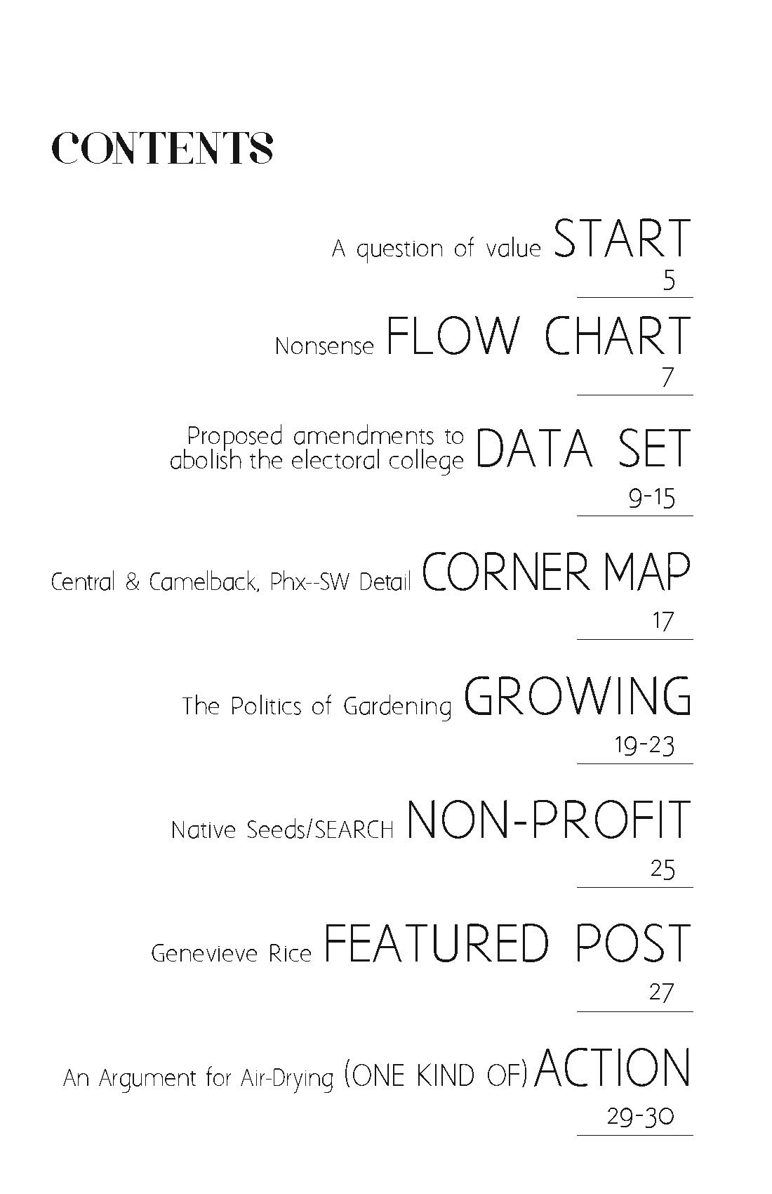 Patterns of Action zine issue 2 table of contents